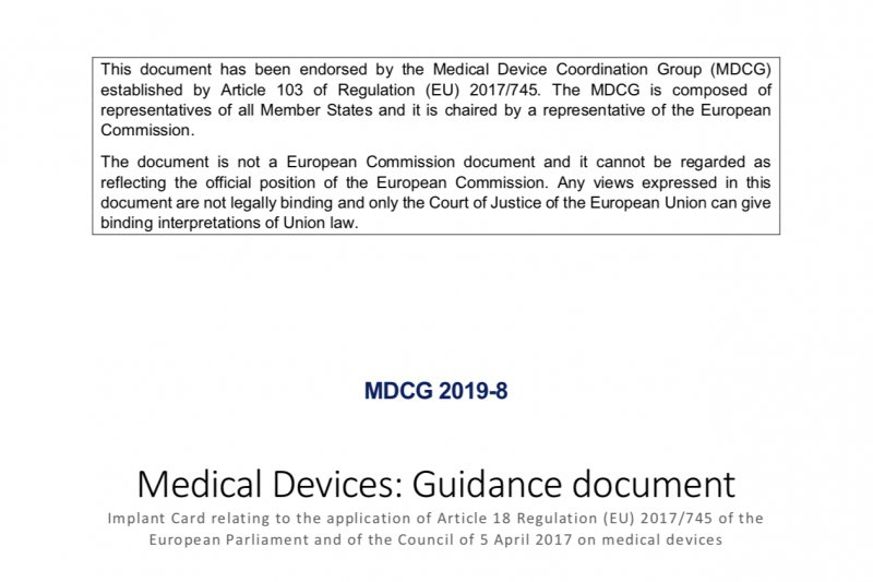Guidance on Implant Card